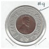Encased 1946 Cent in Good Luck Holder from Des