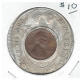 Encased 1948 Cent in Good Luck Holder Magazine