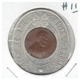 Encased 1950 Cent in Good Luck Holder Menter