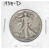 1938-D Walking Liberty Silver Half Dollar
