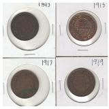 Four Canadian Large Cents - 1893, 1915, 1917,