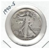 1940-S Walking Liberty Silver Half Dollar
