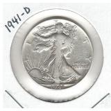 1941-D Walking Liberty Silver Half Dollar
