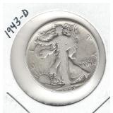 1943-D Walking Liberty Silver Half Dollar