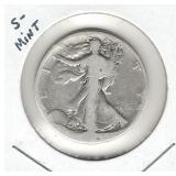 S-Mint Walking Liberty Silver Half Dollar - No