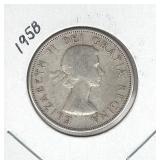 1958 Canadian Silver Half Dollar