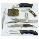 6 Knives and Belt Buckle - Buck, Old Timer,