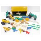 * Toy Tin Barn, Tractors, Farm Animals