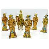 Six WWI Metal Soldiers Marked Marx Toys