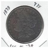 1878 Morgan Silver Dollar - 7 TF, Reverse of 1878