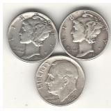 3 Silver Dimes - 2 Mercury & 1 Roosevelt