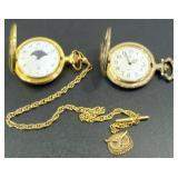 Lot of 2 Quartz Hunting Case Pocket Watches,