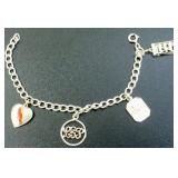 Sterling Silver Charm Bracelet with Four Sterling