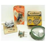 3 Old Fishing Reels and a Diving Mask in Box
