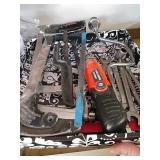Hacksaw, hand saw, combination wrenches, Black &