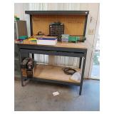 Nice metal and wooden workbench measuring 49 w x