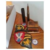 Military patches, vintage metal blasting captain