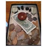 Selection of Flint Rock, money origami, vintage