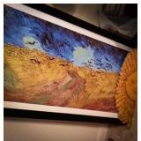 Framed art 22 x 29, coordinating sun plaque