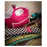 Thirty-One brand wine bag, two new throw rugs,