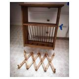 Wooden wall mount display shelf with hanging pull
