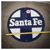 Santa Fe railroad porcelain sign 10 inch
