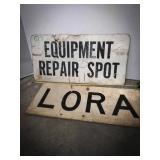 Reflective signs, LORA, EQUIPMENT REPAIR SPOT