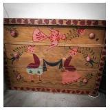 Vintage wooden 3 drawer chest that has folk art
