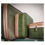 3 piece vintage luggage set in avocado green
