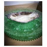 3 12 in  vintage green tiara glass serving