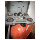 Delta sanding drum kit, hard hat, tape gun,