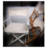 2 wooden collapsible chairs including one with