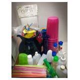 Plastic cups, plastic tea pitcher, straws, travel