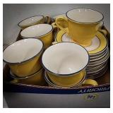 Set of 10 home brand cups and saucers with a few