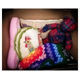 Butterfly pillow, plaid bear, hand crocheted lap