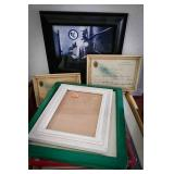 Selection of picture frames, certificates of