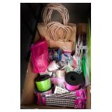Box with ribbon, border stickers, gift bags,
