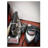 Vintage steam o matic iron and traveling iron