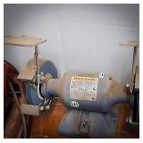 Two-headed baldor grinder / buffer with abrasive
