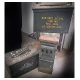 3 metal ammo cans including a hundred cartridge