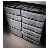 2 plastic shelving organizing units