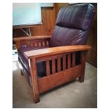 Leather and wood recliner with wine colored
