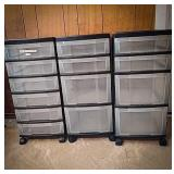3 plastic rolling storage carts, two identical