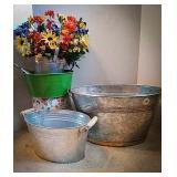 Oval galvanized bucket 18 across, two handle