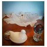 Murano Glass art Lavorazion, white swirl
