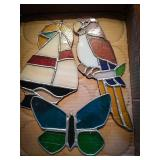 Stained glass sailboat, stained glass butterfly,