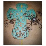 Two metal crosses one large turquoise cross