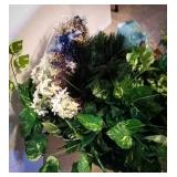 Artificial foliage, flowers, evergreen, and