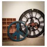 Wall clock chords in a gear design 24-inch, peace