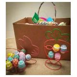 Wooden Easter eggs in bunny holder and carrot